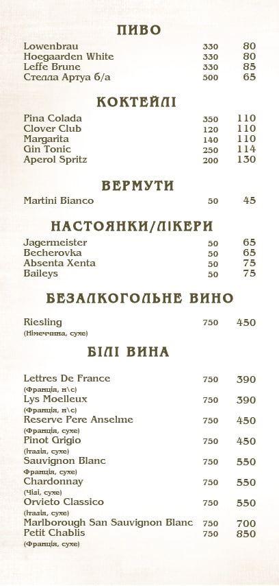 барное меню 1